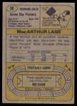 1974 Topps #90 ONE MacArthur Lane  Back Thumbnail
