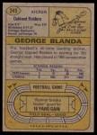 1974 Topps #245  George Blanda  Back Thumbnail