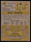 1974 Topps #200  Bob Griese  Back Thumbnail