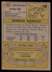 1974 Topps #105  Ahmad Rashad  Back Thumbnail