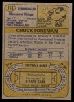 1974 Topps #113 ONE Chuck Foreman  Back Thumbnail