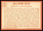 1964 Topps #81   -  Harmon Killebrew / Nellie Fox All-Star Vets Back Thumbnail