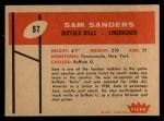 1960 Fleer #57  Sam Sanders  Back Thumbnail