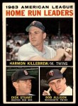 1964 Topps #10   -  Harmon Killebrew / Bob Allison / Dick Stuart AL HR Leaders Front Thumbnail
