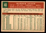 1959 Topps #40 C Warren Spahn  Back Thumbnail