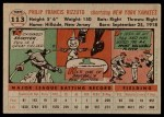 1956 Topps #113 GRY Phil Rizzuto  Back Thumbnail