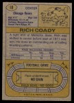 1974 Topps #18 ONE Rich Coady  Back Thumbnail
