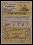 1974 Topps #451  Ken Stabler  Back Thumbnail