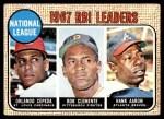 1968 Topps #3   -  Hank Aaron / Orlando Cepeda / Roberto Clemente NL RBI Leaders Front Thumbnail