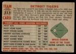 1956 Topps #213   Tigers Team Back Thumbnail