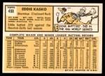 1963 Topps #498  Eddie Kasko  Back Thumbnail