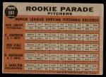 1962 Topps #593   -  Bob Veale / Jack Lamabe / Craig Anderson / Jack Hamilton / Bob Moorhead Rookie Parade - Pitchers Back Thumbnail