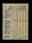 1971 Topps #195   -  Boog Powell / Frank Robinson / George Mitterwald 1970 AL Playoffs - Game 1 - Powell Muscles Twins Back Thumbnail