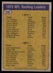 1974 Topps #328   -  O.J. Simpson / John Brockington  Rushing Leaders Back Thumbnail