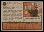 1962 Topps #35  Don Schwall  Back Thumbnail