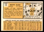1963 Topps #128  Matty Alou  Back Thumbnail