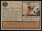 1962 Topps #510  Jim Lemon  Back Thumbnail