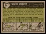 1961 Topps #541  Roland Sheldon  Back Thumbnail