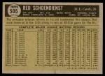 1961 Topps #505  Red Schoendienst  Back Thumbnail