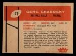 1960 Fleer #79  Gene Grabosky  Back Thumbnail