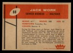 1960 Fleer #88  Jack Work  Back Thumbnail