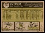 1961 Topps #18  Jim Mudcat Grant  Back Thumbnail