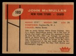 1960 Fleer #103  John McMullan  Back Thumbnail