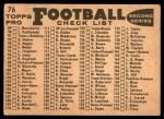 1959 Topps #76   Rams Team Checklist Back Thumbnail
