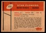 1960 Fleer #115  Stan Flowers  Back Thumbnail