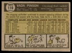 1961 Topps #110  Vada Pinson  Back Thumbnail