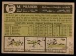 1961 Topps #62 SPT Al Pilarcik  Back Thumbnail