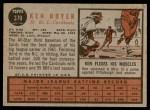 1962 Topps #370  Ken Boyer  Back Thumbnail
