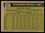1961 Topps #554   Pirates Team Back Thumbnail