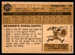 1960 Topps #375  Dale Long  Back Thumbnail