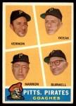 1960 Topps #467   -  Bill Burwell / Frank Oceak / Sam Narron / Mickey Vernon Pirates Coaches Front Thumbnail