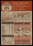 1953 Topps #171  Bill Glynn  Back Thumbnail