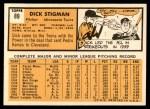 1963 Topps #89  Dick Stigman  Back Thumbnail