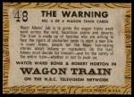 1958 Topps TV Westerns #48   The Warning  Back Thumbnail