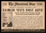 1954 Topps Scoop #116   Daimler Tests First Auto Back Thumbnail