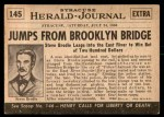 1954 Topps Scoop #145   Brodie Jumps Off Brooklyn Birdge Back Thumbnail