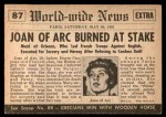 1954 Topps Scoop #87   Joan Of Arc Burned Back Thumbnail