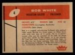 1960 Fleer #4  Bob White  Back Thumbnail