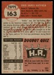 1953 Topps #163  Fred Hatfield  Back Thumbnail