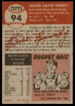 1953 Topps #94  Bill Kennedy  Back Thumbnail
