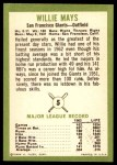 1963 Fleer #5  Willie Mays  Back Thumbnail