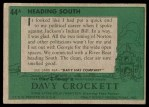 1956 Topps Davy Crockett #44 GRN  Heading South  Back Thumbnail