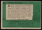 1956 Topps Davy Crockett #46 GRN  Comanche!  Back Thumbnail