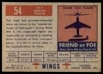 1952 Topps Wings #54   LA-5 Back Thumbnail