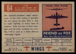1952 Topps Wings #64   F-94 Back Thumbnail