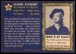 1953 Topps Who-Z-At Star #20  Elaine Stewart  Back Thumbnail